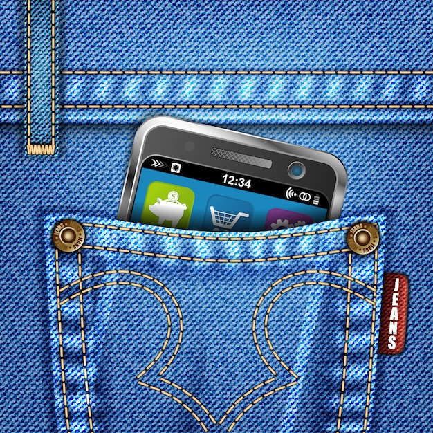 Jeanstextuur met smartphone Premium Vector