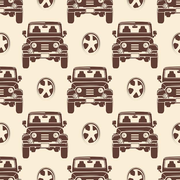 Jeeps naadloze patroon ontwerp Premium Vector