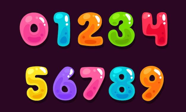 Jelly kleurrijke alfabetnummers Premium Vector