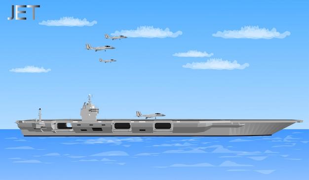 Jet-vliegtuigen en oorlogsschepen voor soldaten Premium Vector