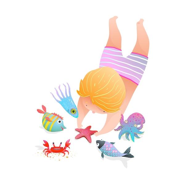 Jeugd aan zee met zeedieren schattig aquarel stijl kleuterschool illustratie cartoon. Premium Vector