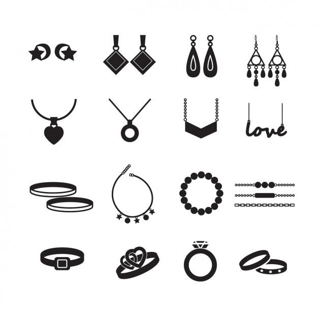 Jewelry iconen collectie Gratis Vector