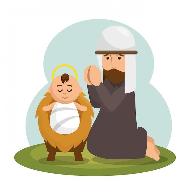 Jezus baby karakter pictogram Gratis Vector