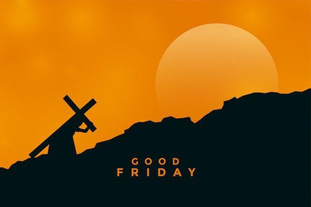 Jezus christus draagt kruis voor zijn kruisiging Gratis Vector