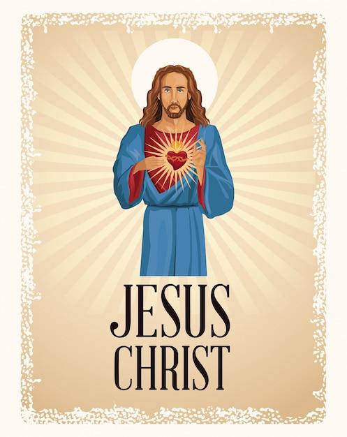 Jezus christus heilig hart christendom Premium Vector