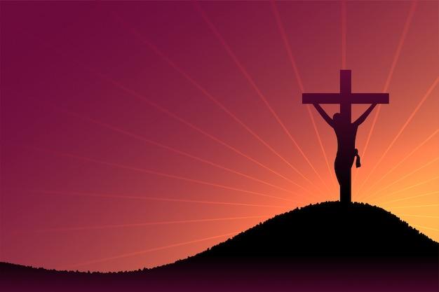 Jezus christus kruisiging scène op schemering en zonnestralen Gratis Vector