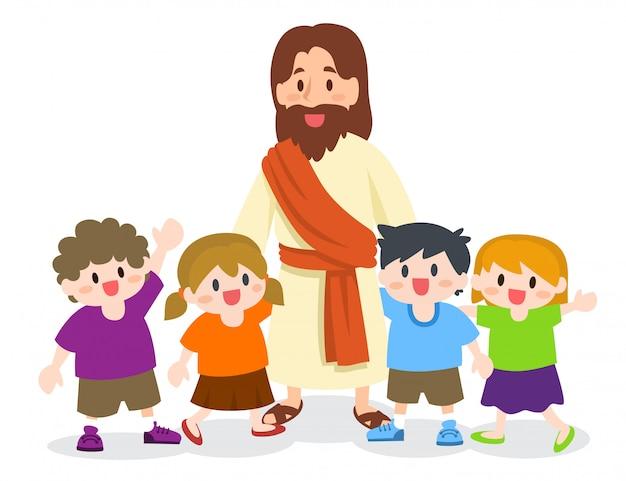 Jezus christus met een groep kinderen Premium Vector