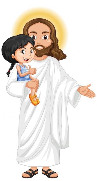 Jezus draagt een schattig meisje met een genadig gevoel Gratis Vector