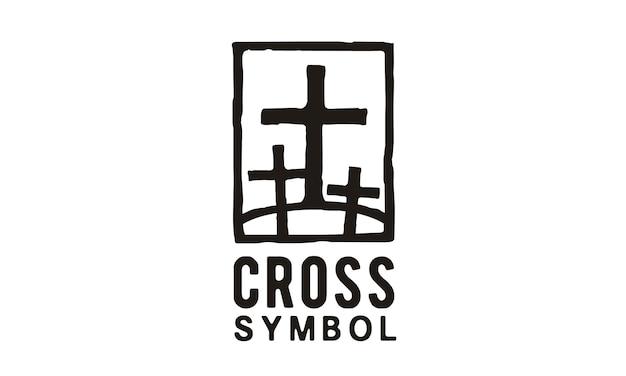 Jezus en twee dieven logo illustratie Premium Vector