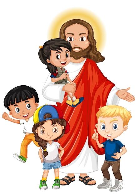 Jezus met een stripfiguur voor kinderen Premium Vector