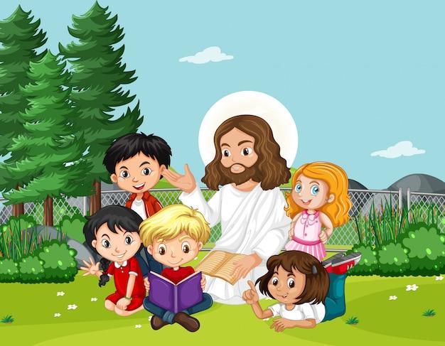 Jezus met kinderen in het park Gratis Vector