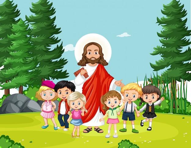 Jezus met kinderen in het park Premium Vector
