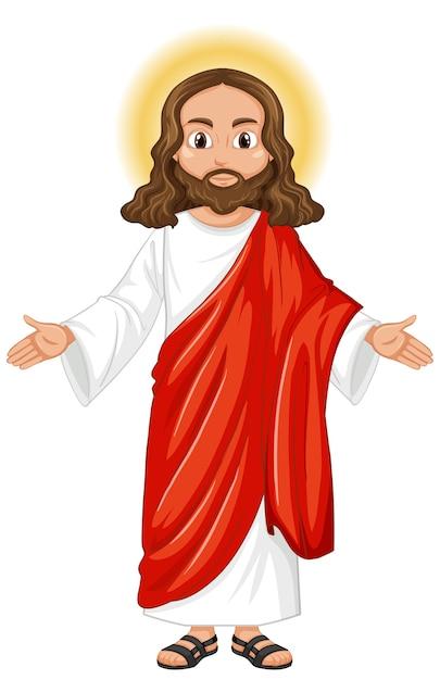 Jezus predikt in staande positie karakter Gratis Vector