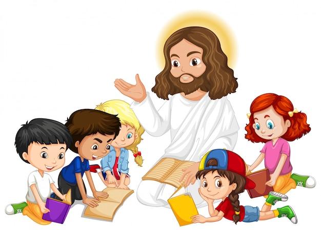 Jezus predikt tot een stripfiguur van een kindergroep Gratis Vector