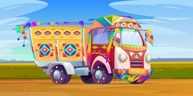 Jingle truck, indiase of pakistan sierlijke transport Gratis Vector