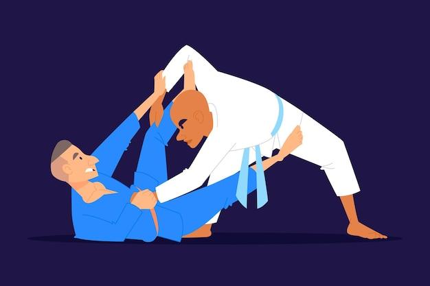 Jiu jitsu-atleten die vechten Gratis Vector