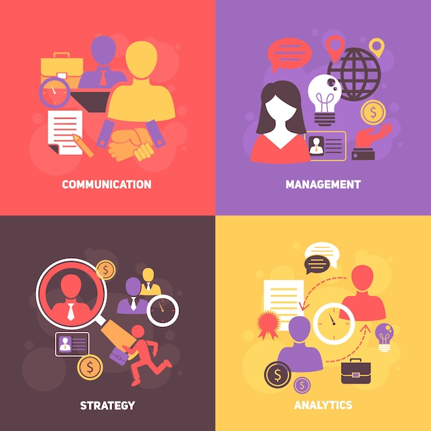Job interview avatar en elementen samenstelling set Gratis Vector