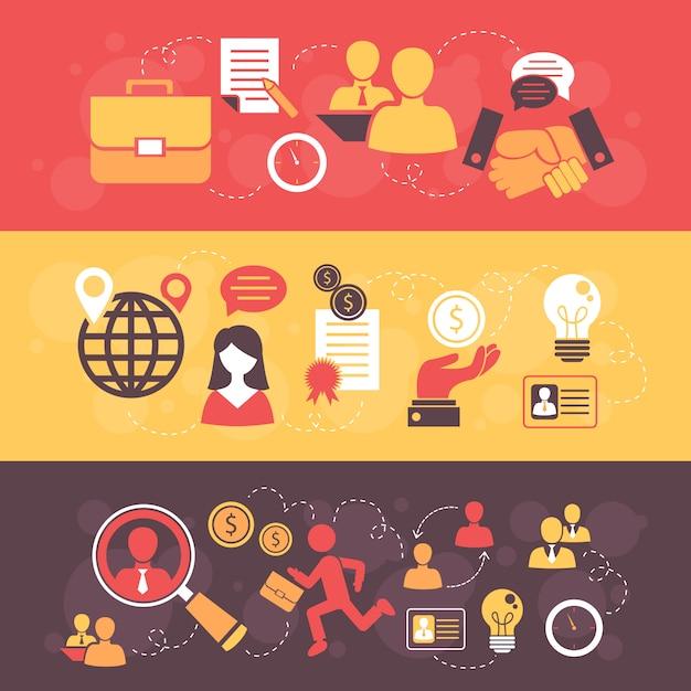 Job interview flat banner set met elementen samenstelling Gratis Vector