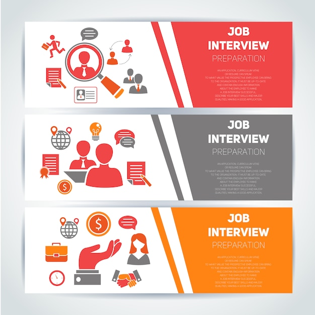 Job interview flat banner template set en elementen samenstelling Gratis Vector