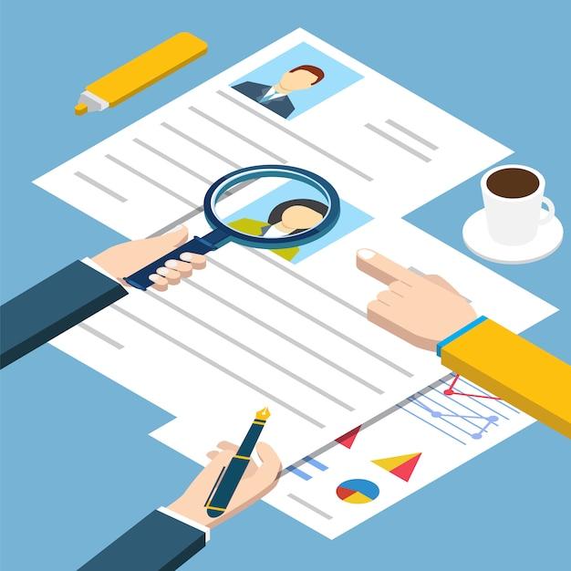 Job interview isometrisch Premium Vector