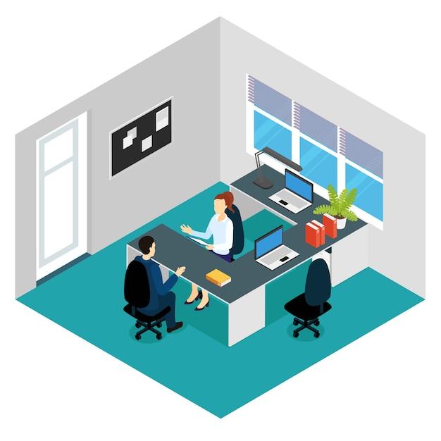Job interview isometrische scène Gratis Vector