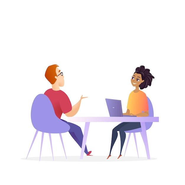 Job interview meeting Premium Vector