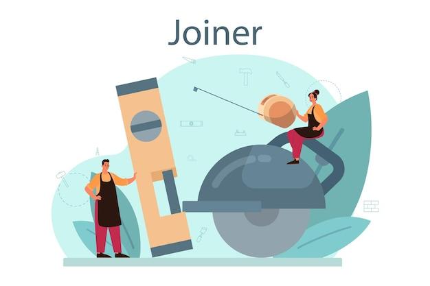 Jointer of timmerman concept. bouwer helm en overall dragen met het werken met hout. schrijnwerkerij en houtwerkplaats. geïsoleerde vectorillustratie Premium Vector