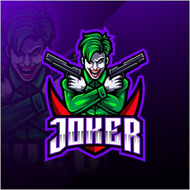 Joker esport mascotte logo ontwerp Premium Vector