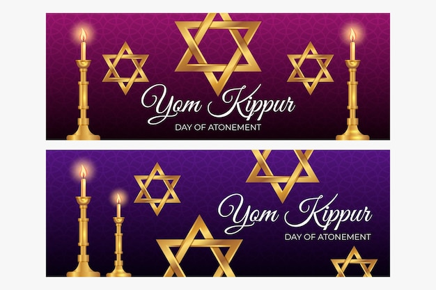 Jom kipoer banner set Gratis Vector