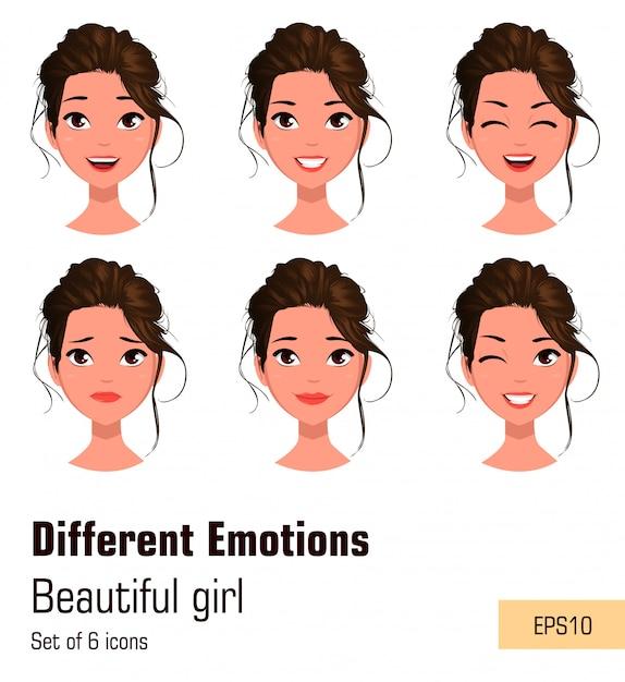 Jong aantrekkelijk meisje met verschillende emoties Premium Vector