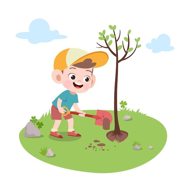 Jong geitjejongen die boomillustratie planten Premium Vector