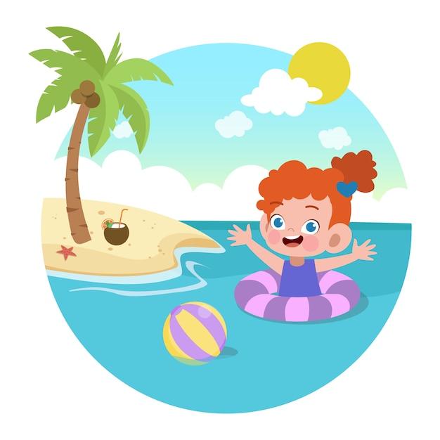 Jong geitjemeisje het spelen op de strandillustratie Premium Vector