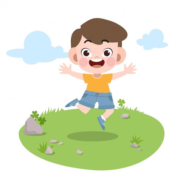Jong geitjessprong in de tuin vectorillustratie Premium Vector