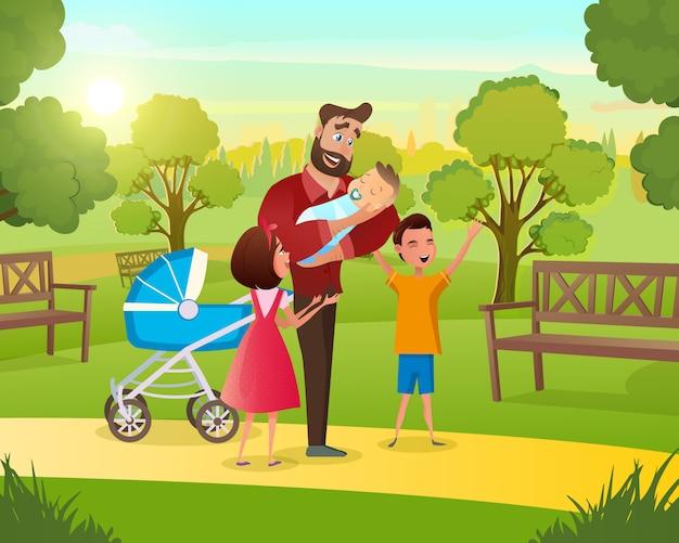 Jong gezin op wandeling in het park met kind frisse lucht Gratis Vector