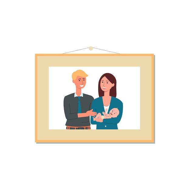 Jong koppel fotografie opknoping op muur in fotolijst, illustratie op witte achtergrond. man en vrouw stripfiguur op familieportret. Premium Vector