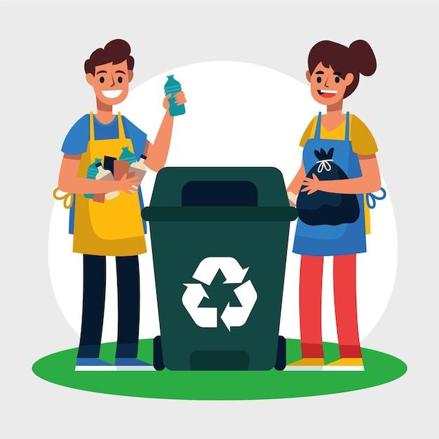 Jong koppel recyclen het afval Premium Vector