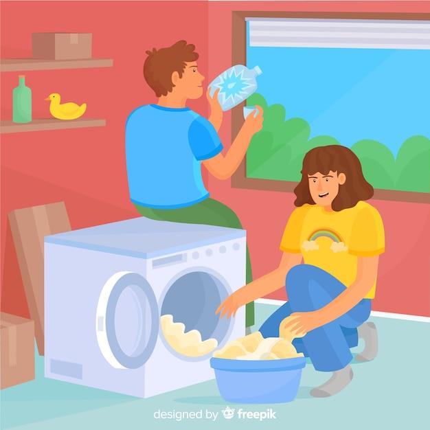 Jong koppel samen huishoudelijk werk doen Gratis Vector