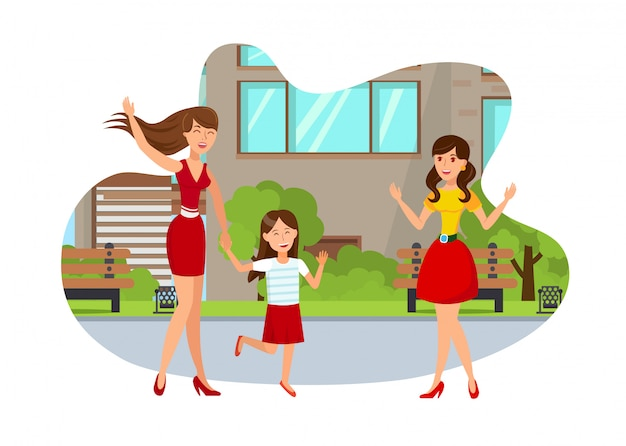 Jong mamma met meisjes vlak geïsoleerde illustratie Premium Vector