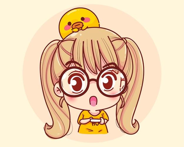 Jong meisje geschokt expressie cartoon afbeelding Gratis Vector