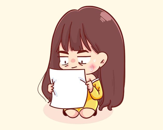 Jong meisje geschokt lezing brief cartoon afbeelding Gratis Vector