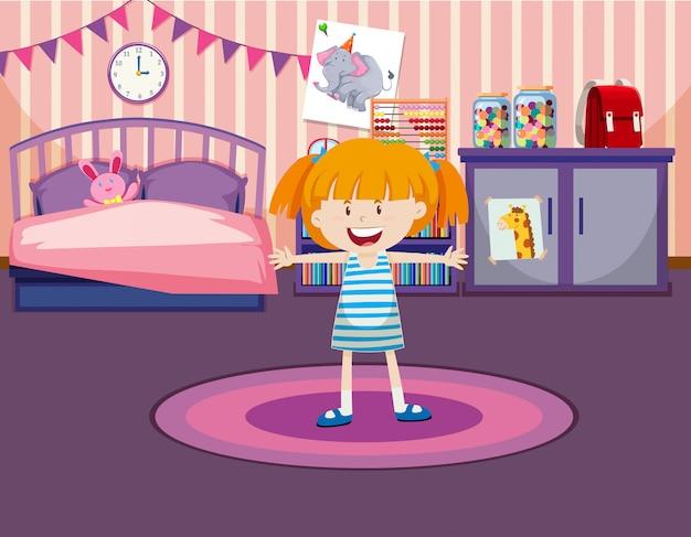 Jong meisje in haar kamer Gratis Vector