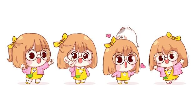 Jong meisje in verschillende gebaren cartoon afbeelding Gratis Vector