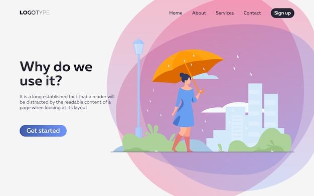 Jong meisje met oranje paraplu vlakke afbeelding. bestemmingspagina of websjabloon Gratis Vector