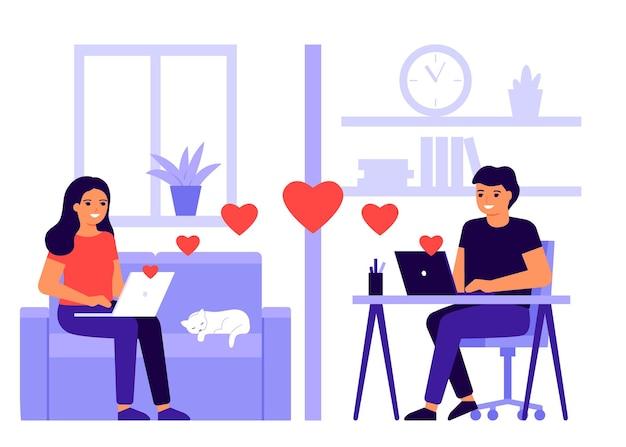 Jong minnaarpaar ontmoet afstand in videogesprek online. op afstand communiceren met harten via internet vanuit huis. man en vrouw praten online op laptop. communicatie in liefde, daten. valentijnsdag. Premium Vector
