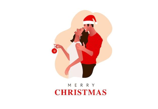 Jong mooi paar dat kerstmis viert. meisje houdt kerstbal. kerstmuts, cadeaus, Premium Vector
