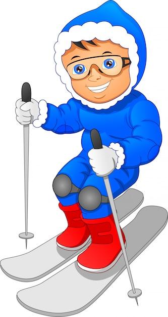 Jong skiën Premium Vector