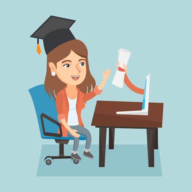 Jonge afgestudeerde diploma behalen van de computer. Premium Vector