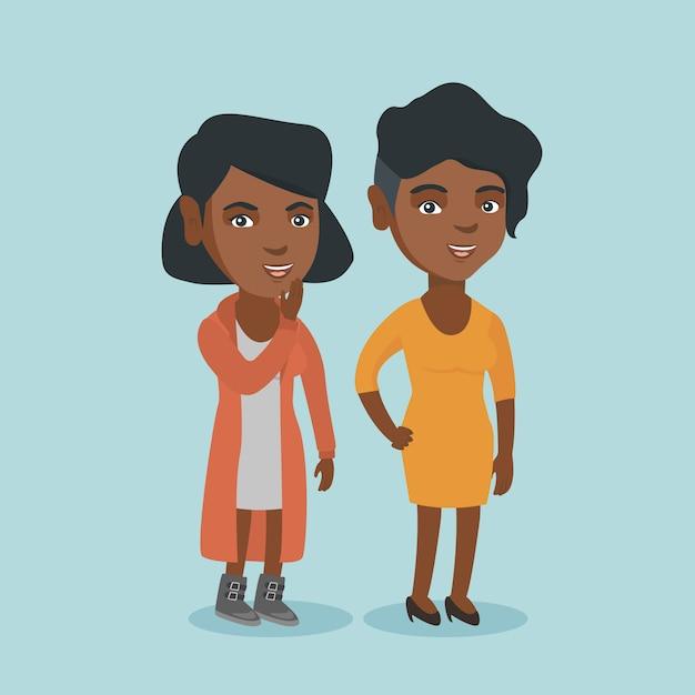 Jonge afrikaanse vrouw die geheim aan een vriend fluistert. Premium Vector