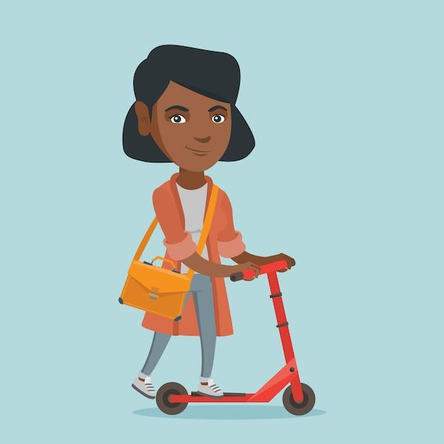 Jonge afrikaanse zakenvrouw rijden kick scooter Premium Vector