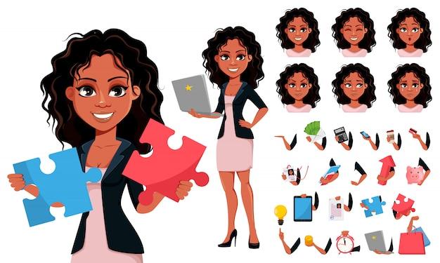 Jonge afro-amerikaanse zakenvrouw Premium Vector
